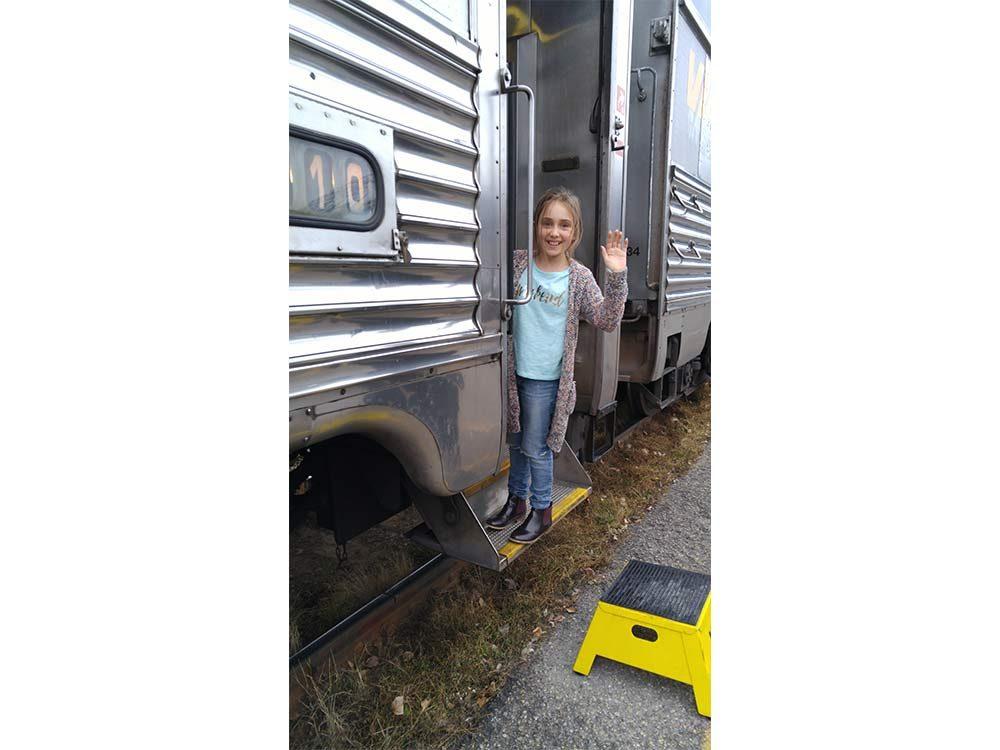 Little girl on train