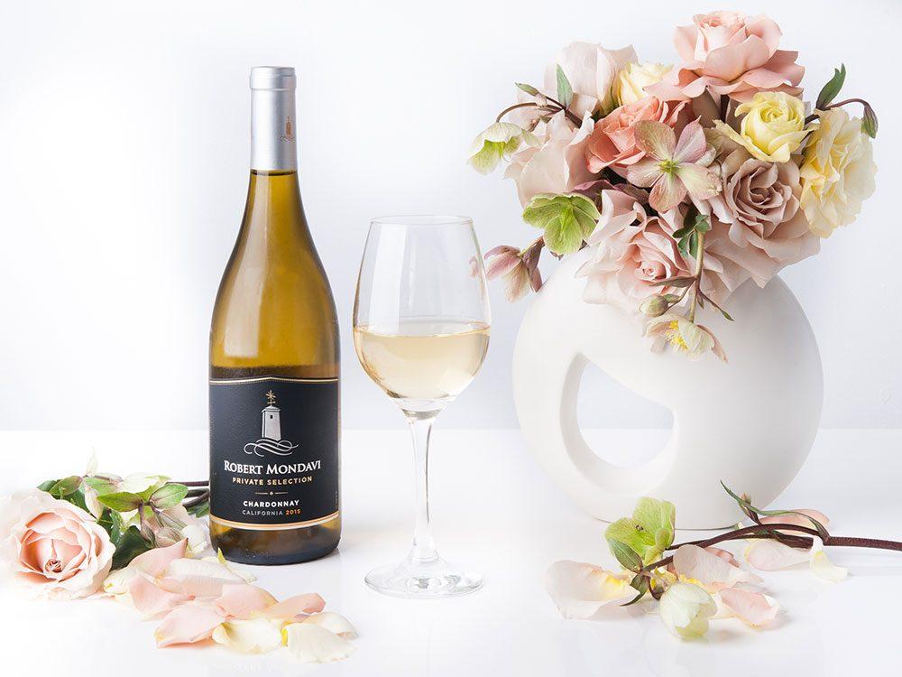 Robert Mondavi Chardonnay paired with flower arrangement