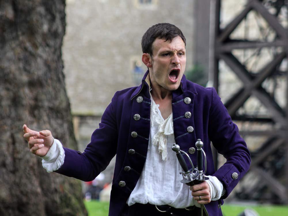 Shakespearean actor in outdoor play