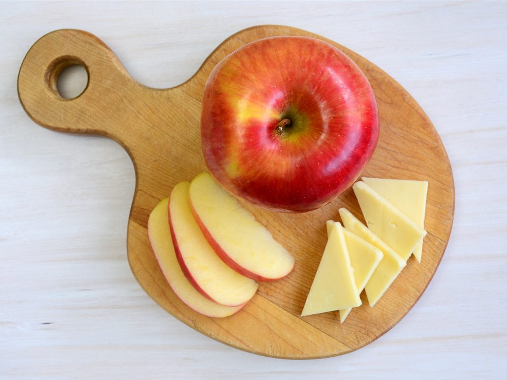 Cheese and apple is a no-guilt healthy snack