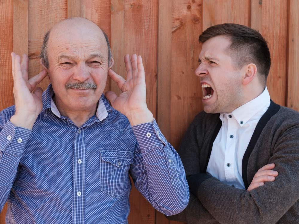 Father and son fighting