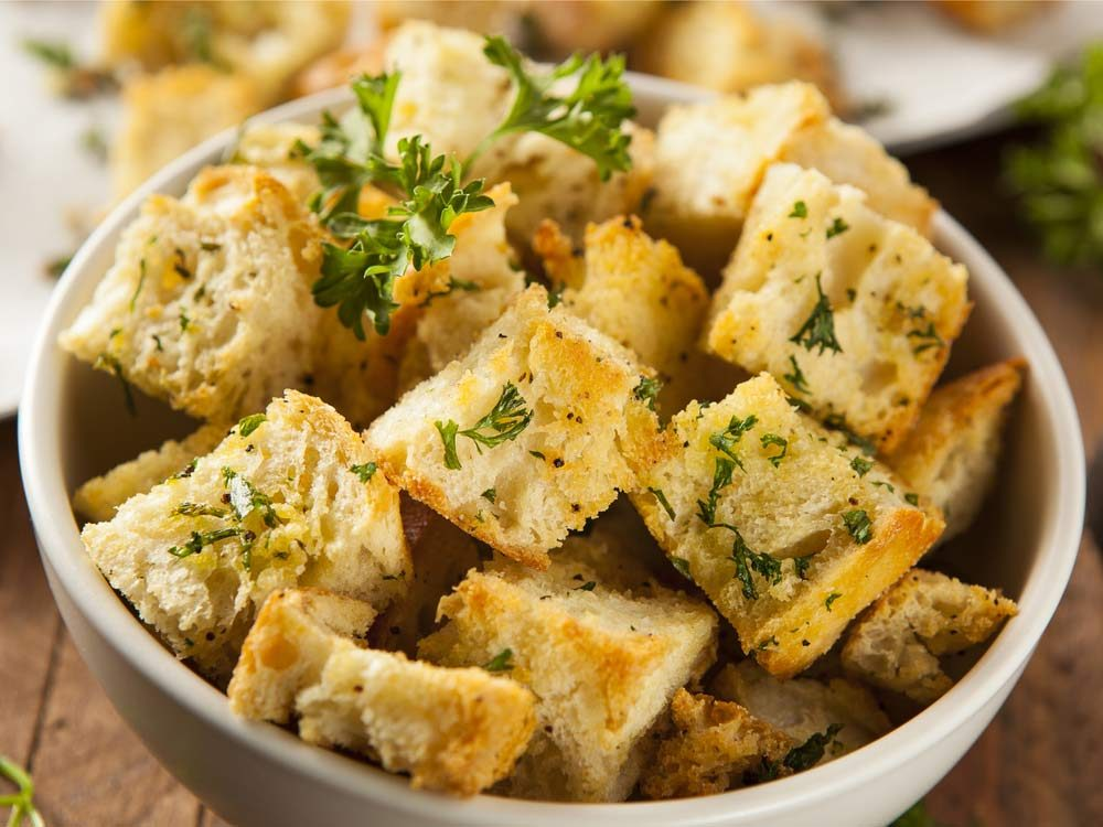 Use leftover buns to create croutons