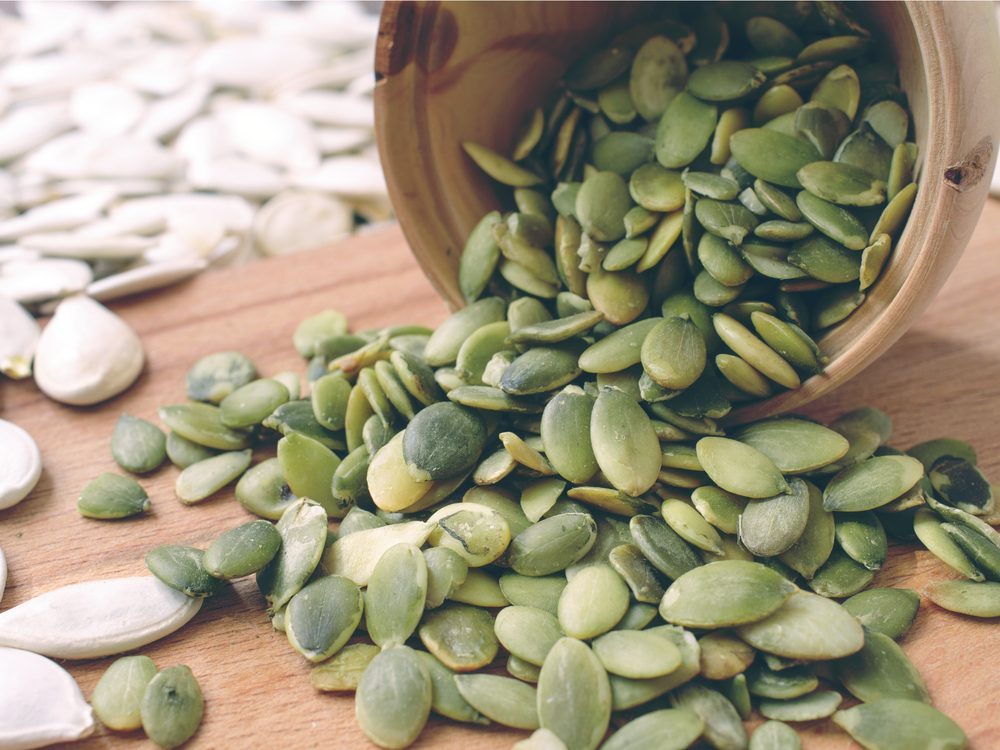 Pumpkin seeds are a healthy green food that helps you lose weight