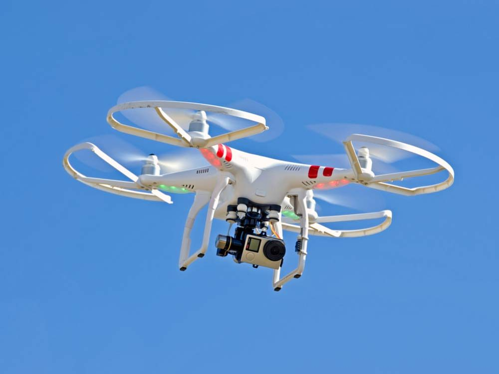 Drone camera in sky