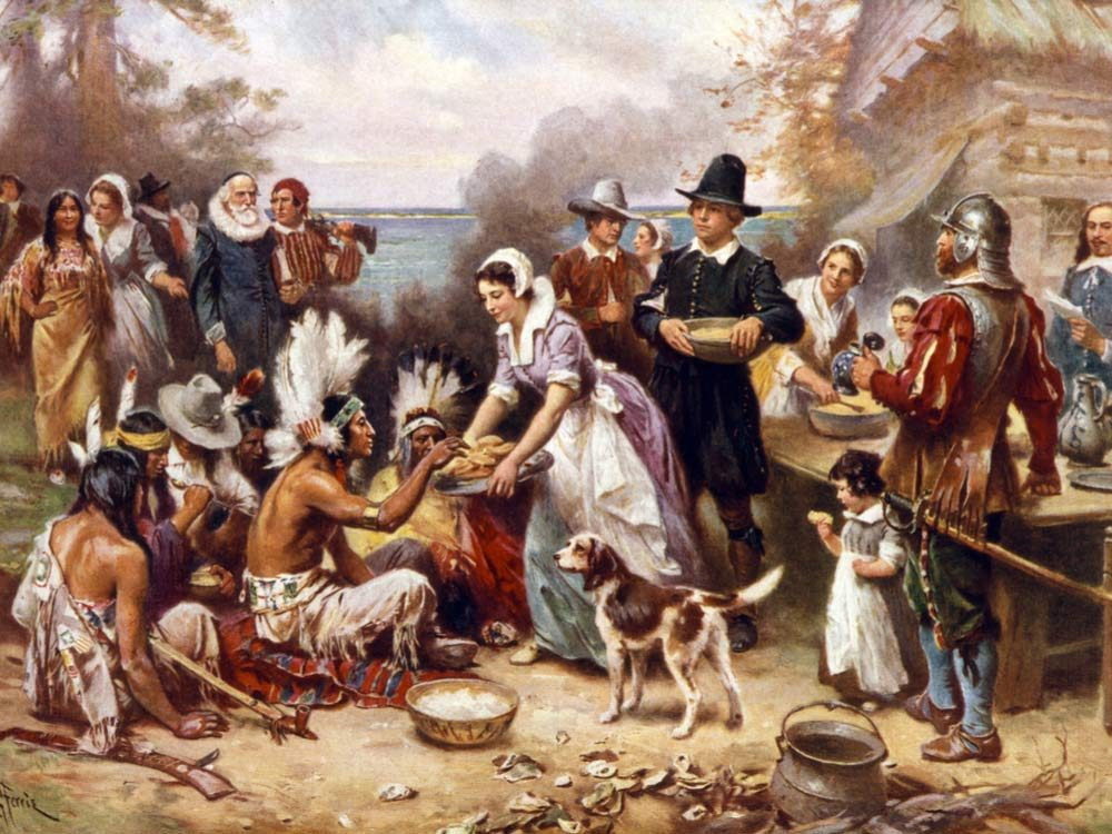 Painting of pilgrims and Indians