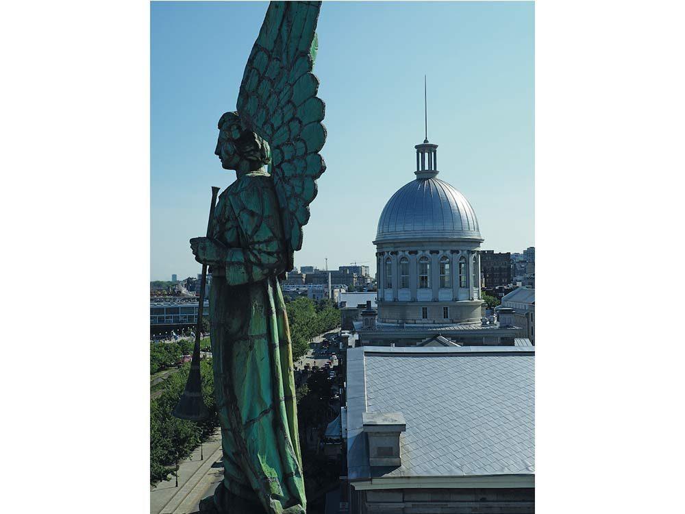 Angel adorning the roof of the Notre Dame-de-Bon-Secours chapel