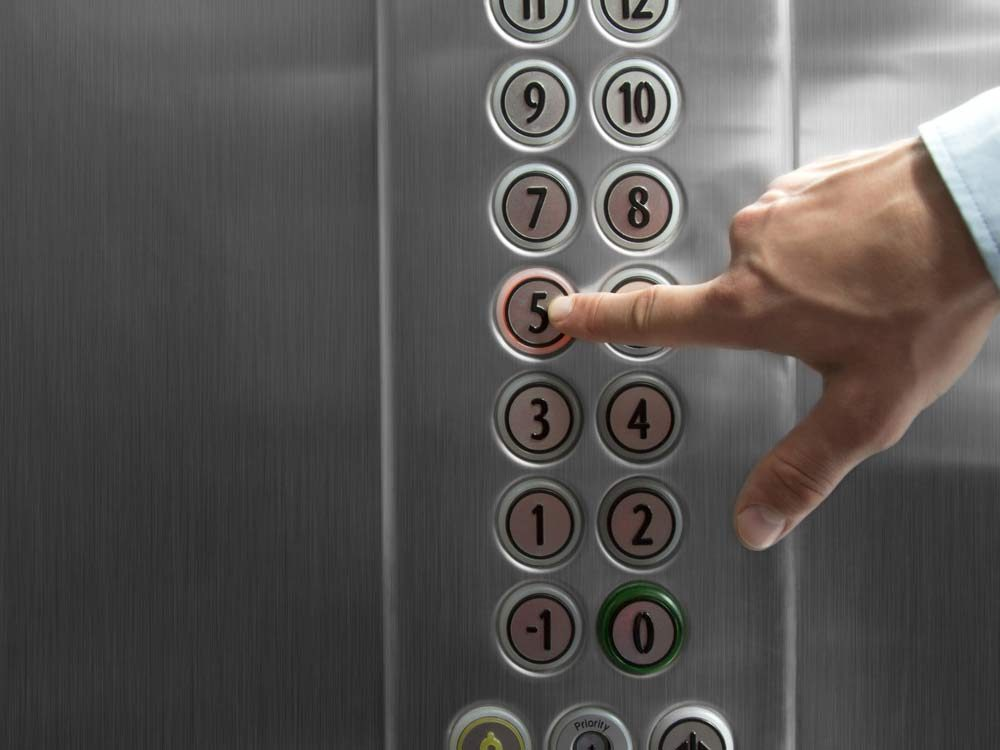Germs on elevator buttons