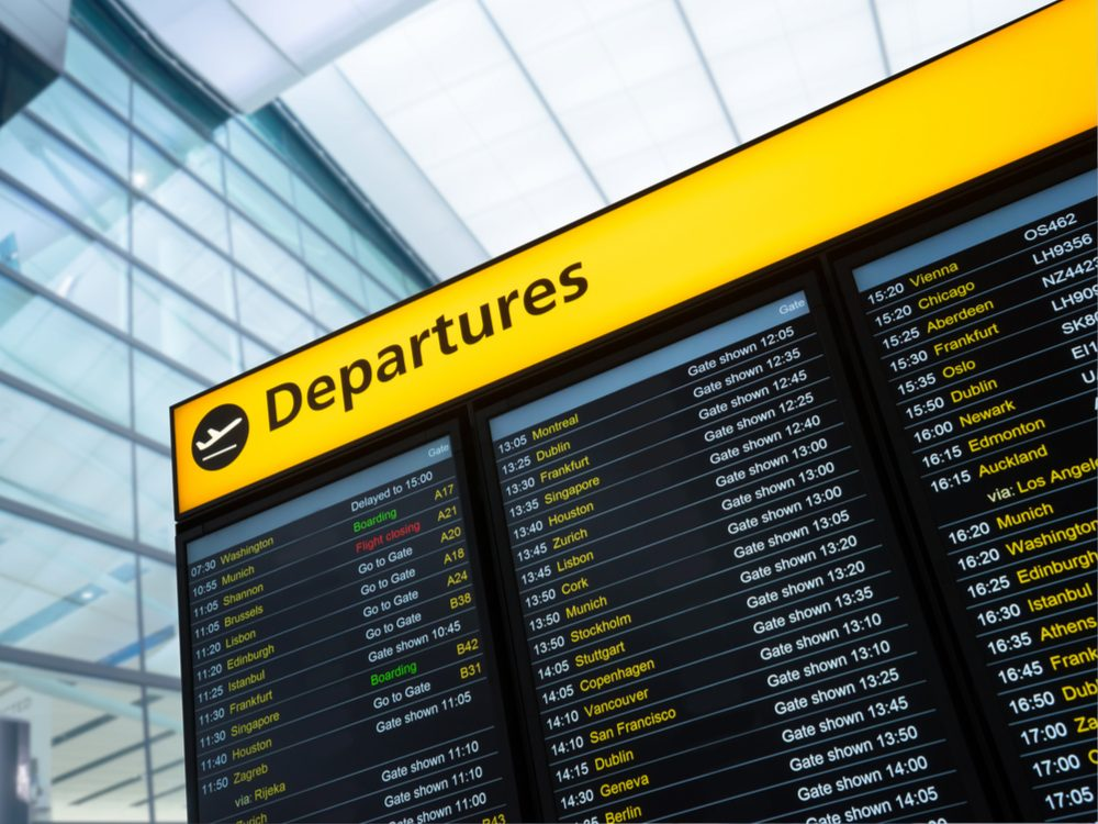 Check airport monitors for updated flight information