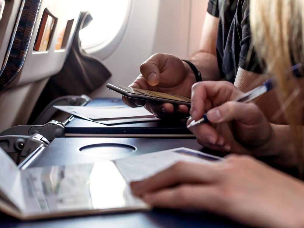Bring a pen to fill out forms on the plane