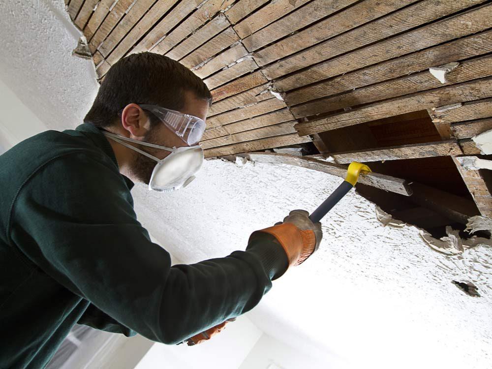 Demolishing ceiling