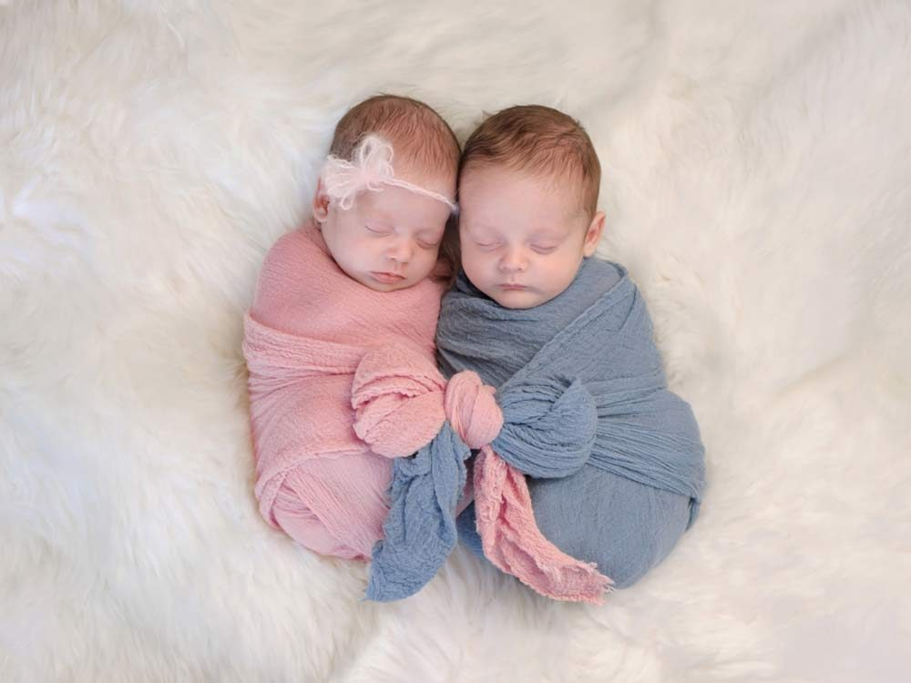 Fraternal twin babies