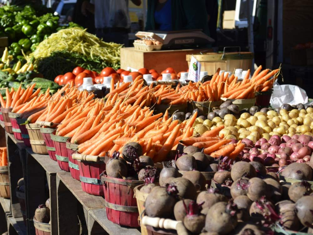Fresh produce at market stall
