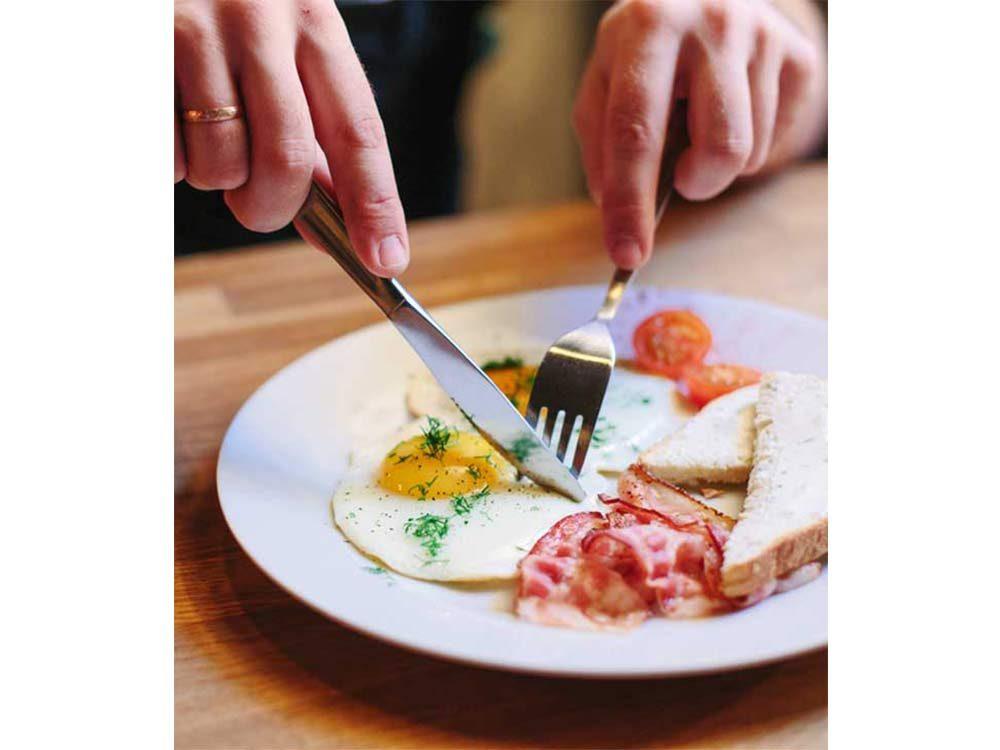 Eating English breakfast