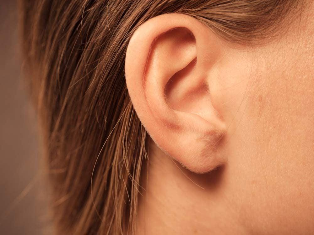 Close-up of female ear