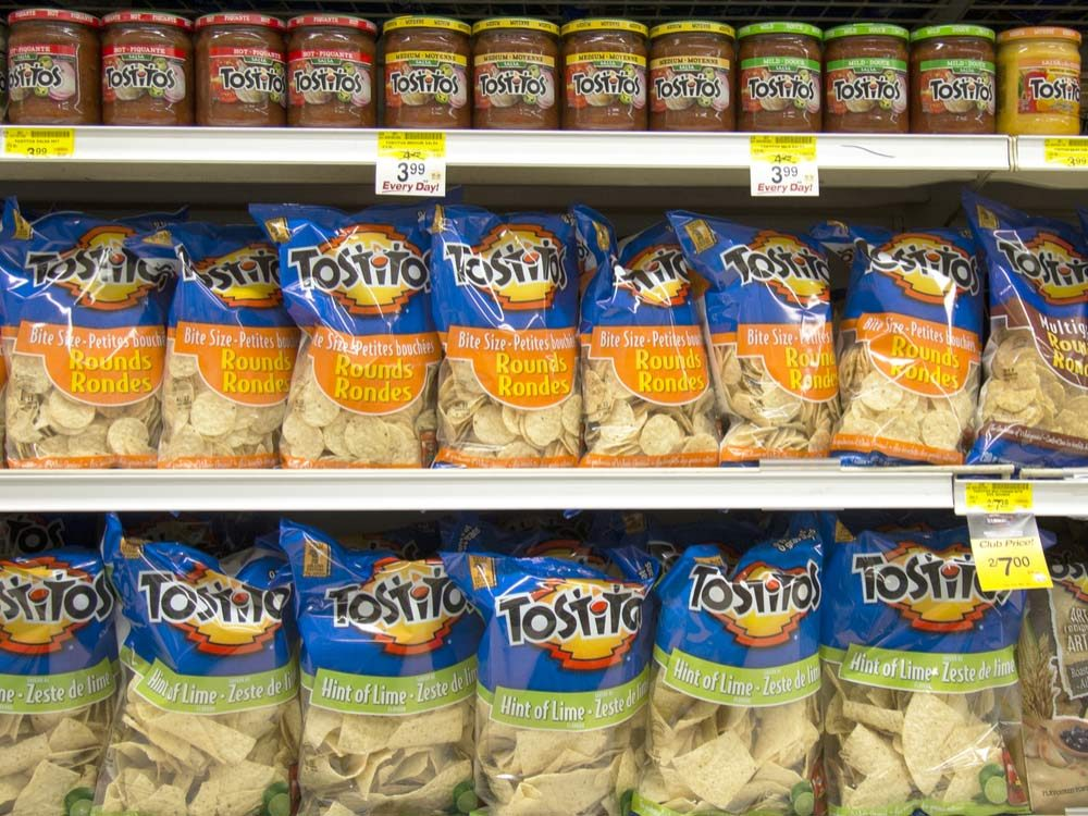 Tostitos in grocery store