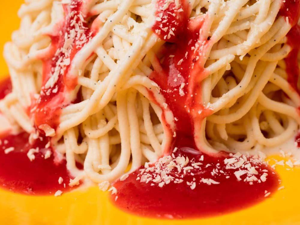 Spaghettini ice cream dessert