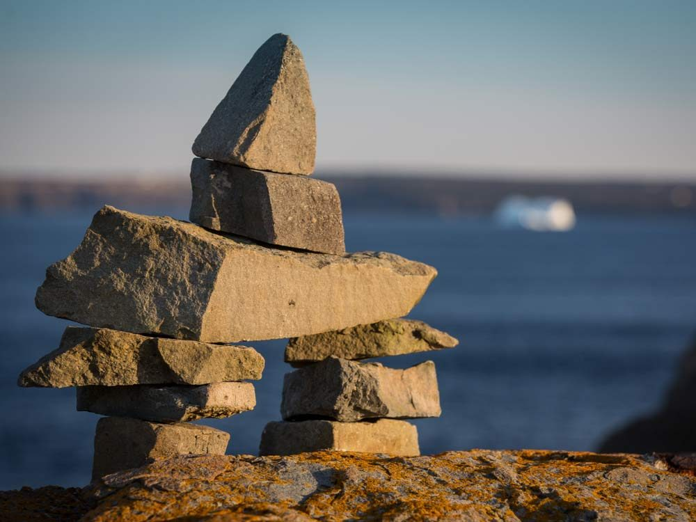 Inukshuk landmark on Newfoundland coast