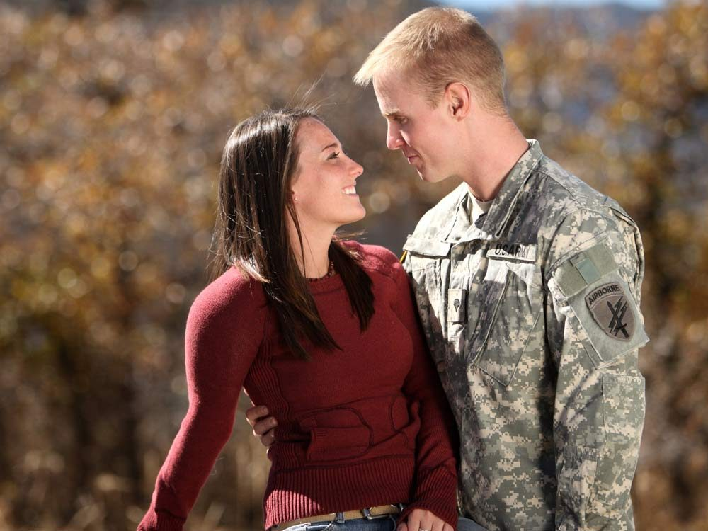 Soldier with his girlfriend
