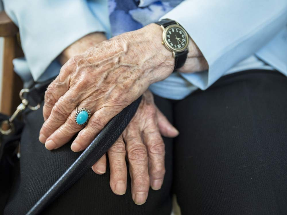 Close-up of senior woman's hands