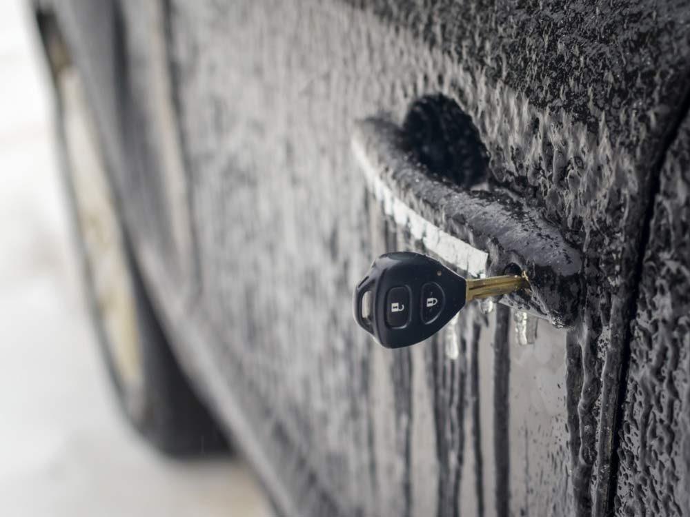 Frozen car door lock