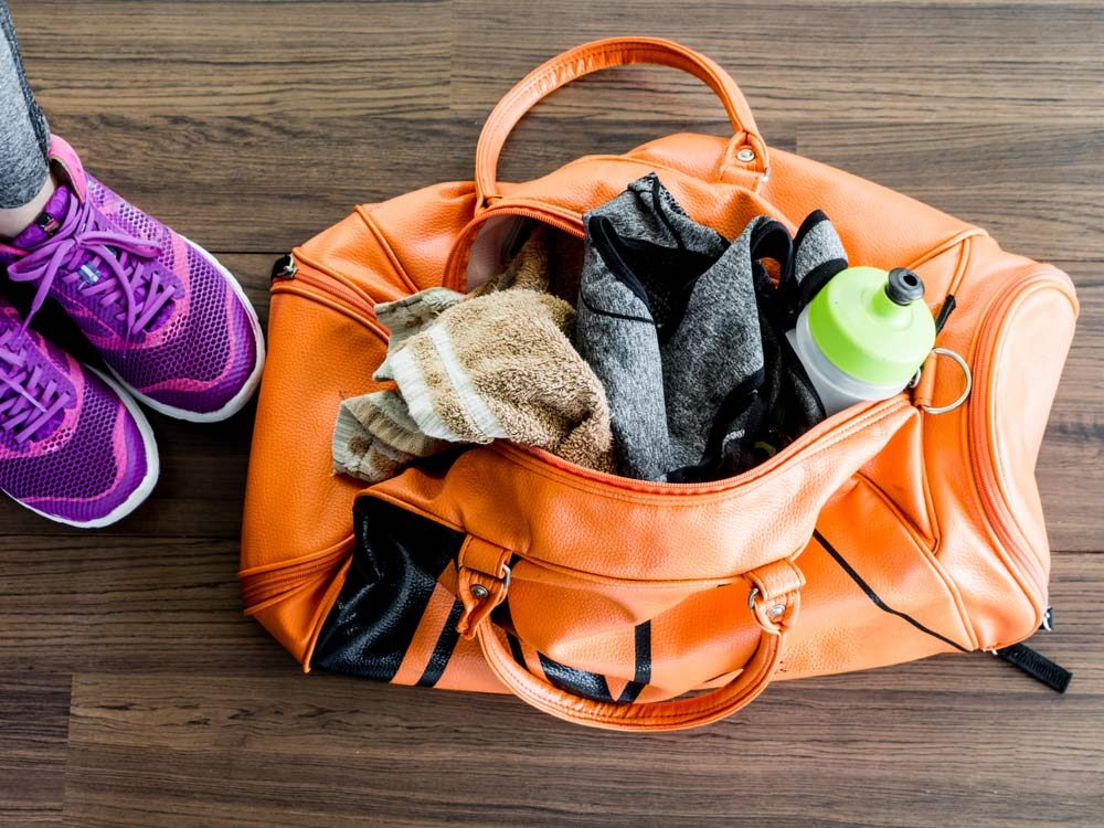 Gym bag with workout clothes