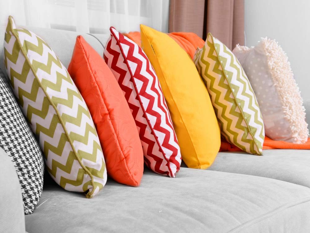 Assorted coloured pillows