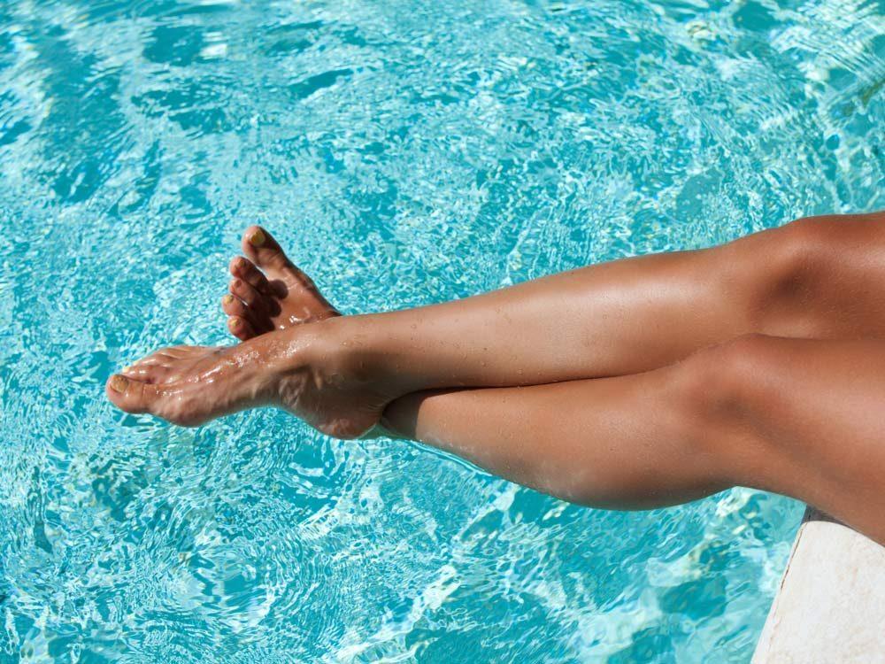 Tanned female legs