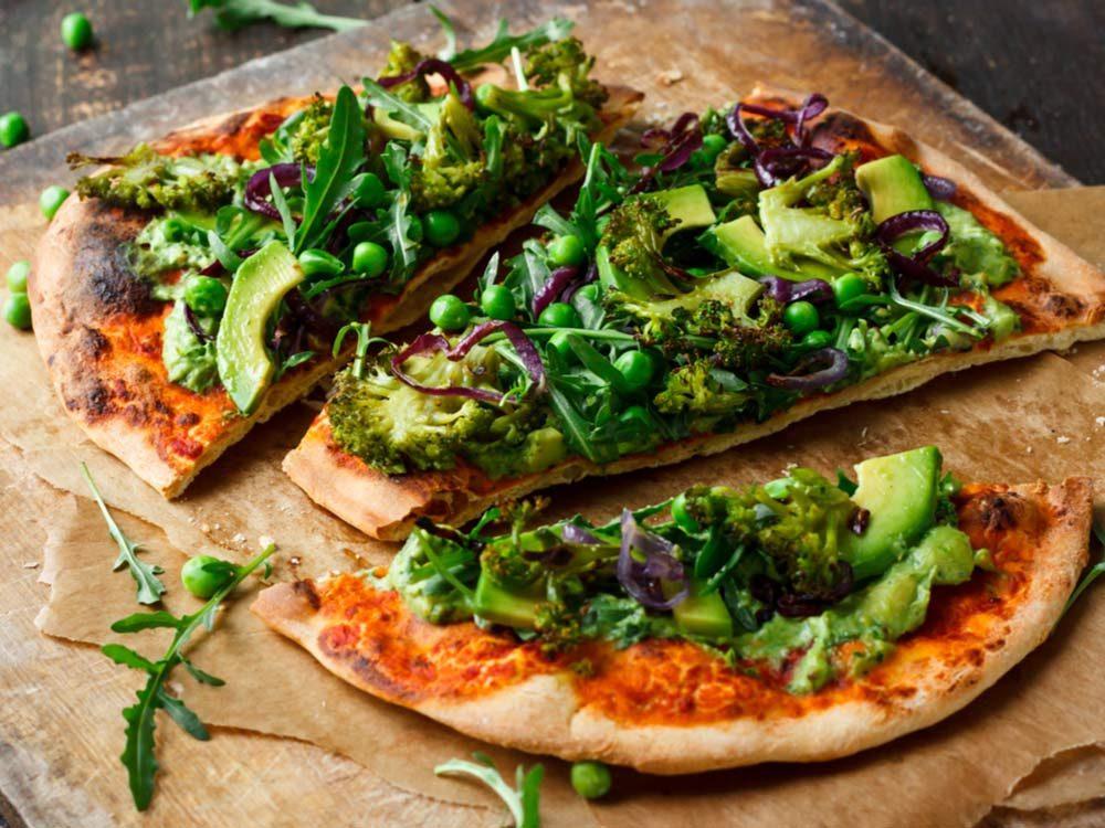Vegan pizza with avocado