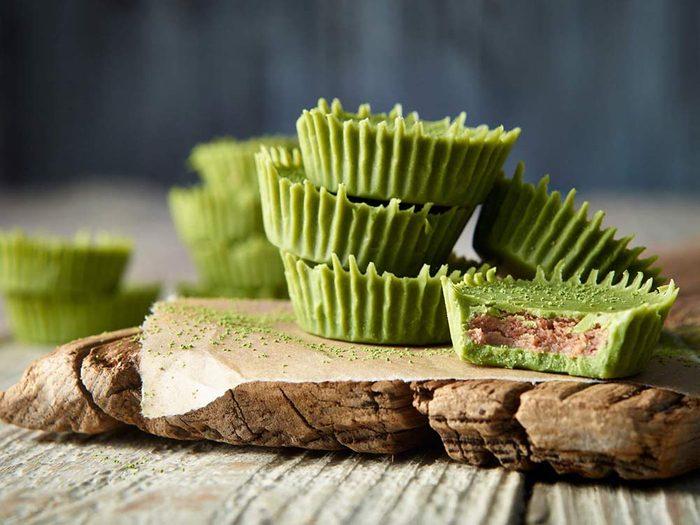 Matcha green tea almond butter cups
