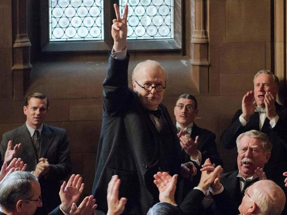 "Gary Oldman as Winston Churchill in ""Darkest Hour"""