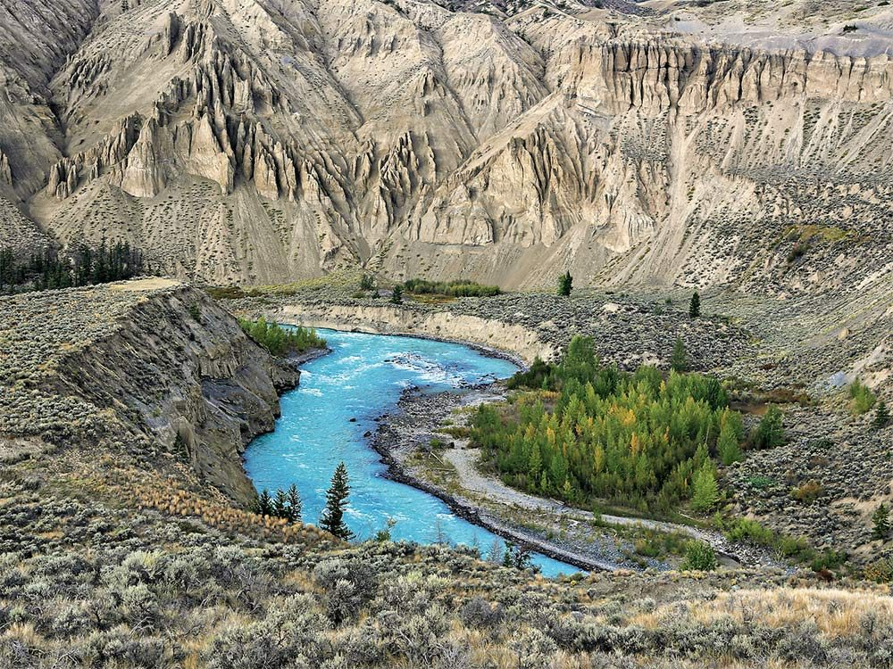 The Chilcotin River runs through Farewell Canyon in British Columbia