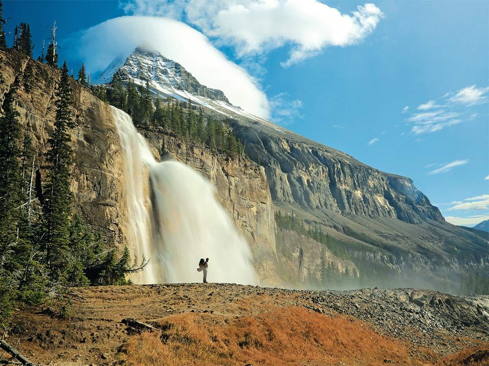Emperor Falls and Mount Robson in Mount Robson Provincial Park
