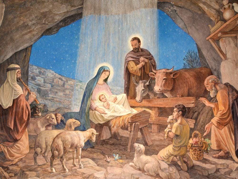 Painting of nativity scene