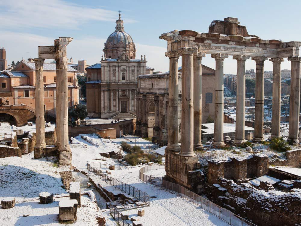 Snow in ancient Italian ruins