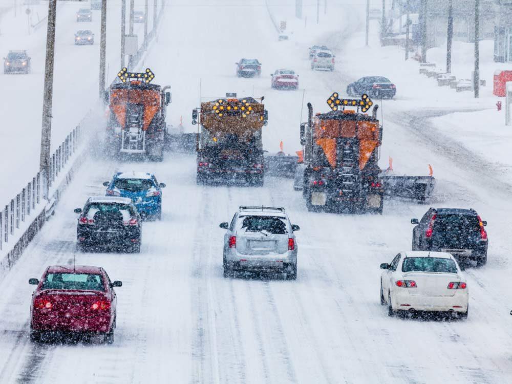 Blizzard on highway