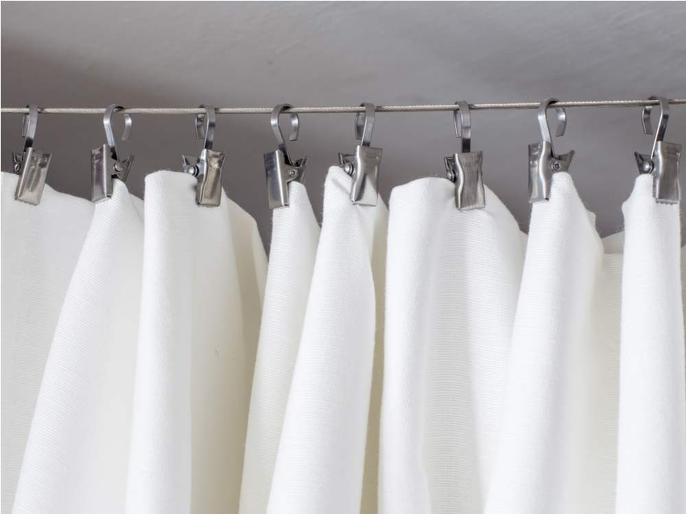 White shower curtains