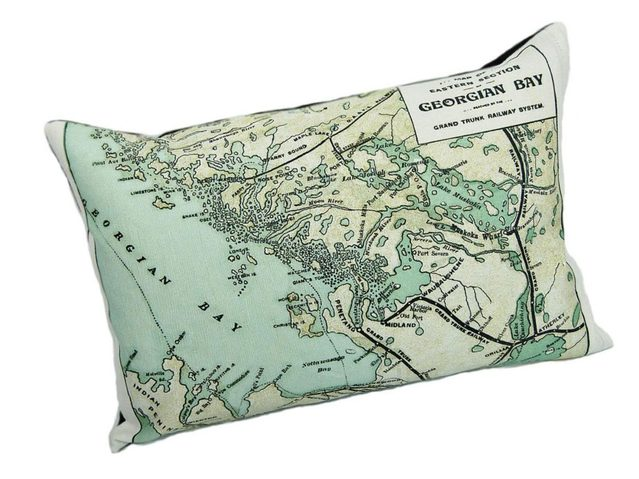 Georgian Bay pillow, Vintage Map Co