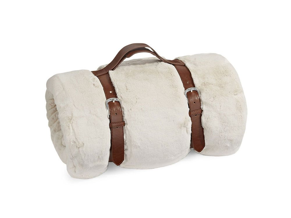 GlucksteinHome chinchilla faux fur throw
