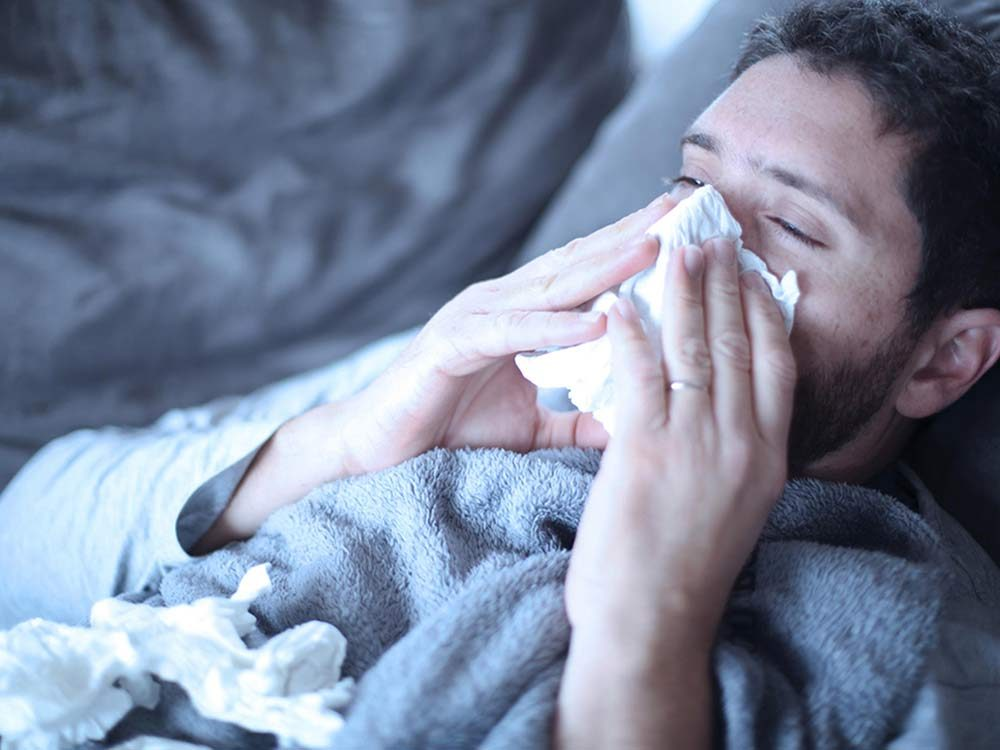 Man with case of flu
