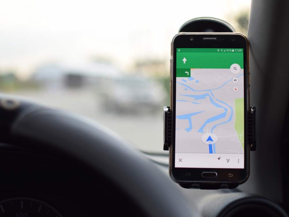 Map app on phone in car