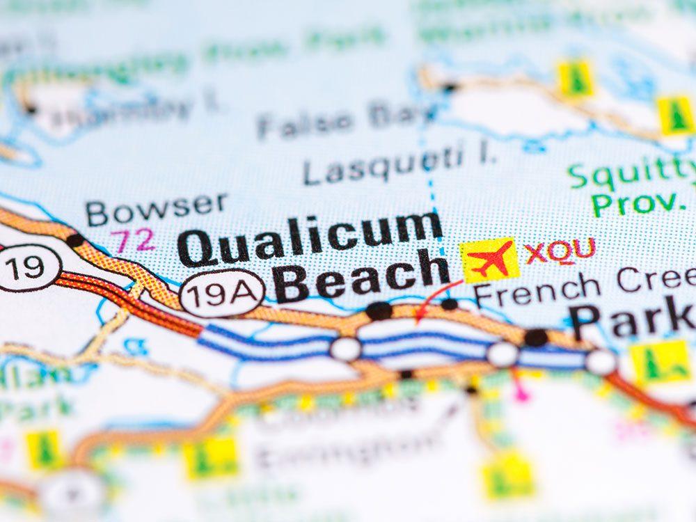 Qualicum Beach on map of British Columbia