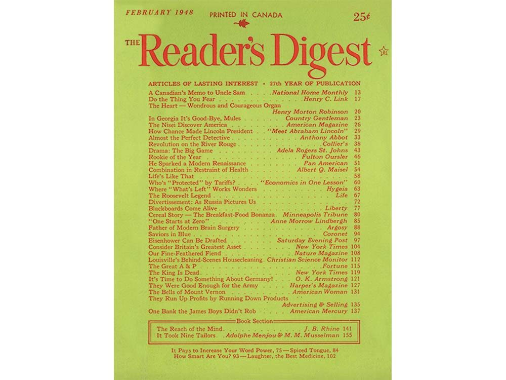 First issue of Reader's Digest Canada