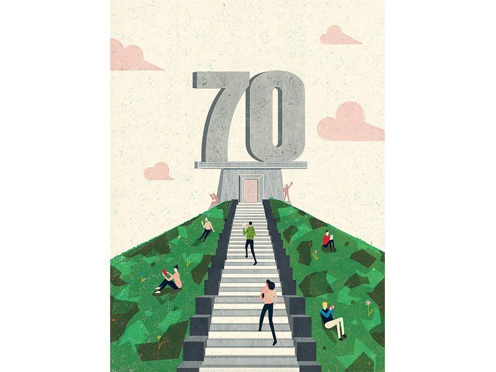 70th anniversary illustration