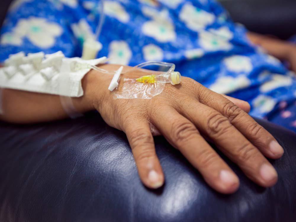 Woman undergoing chemotherapy