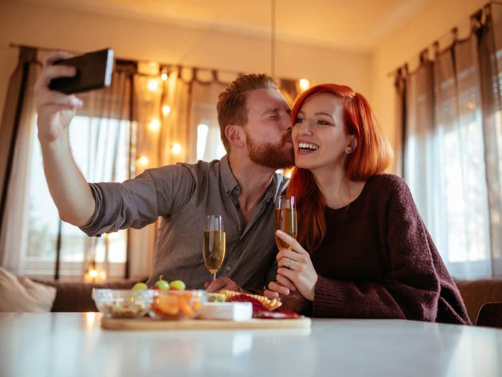 Ginger couple kissing