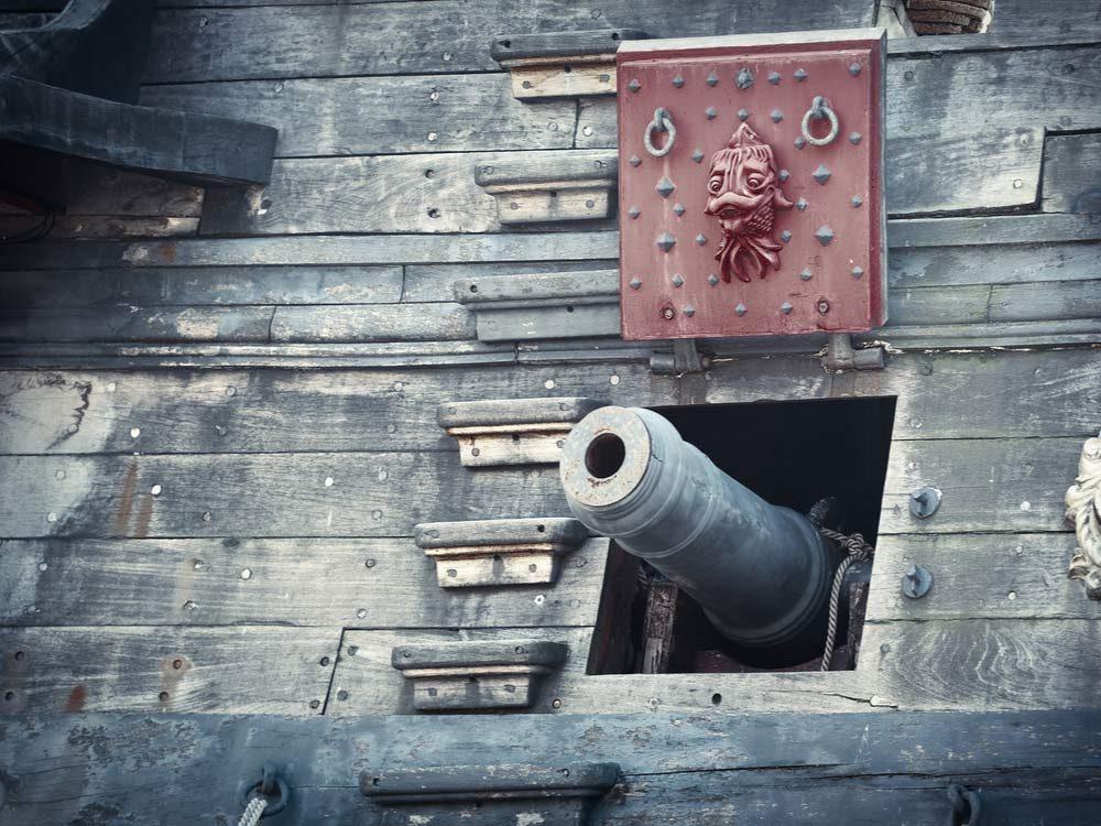 Cannon of pirate ship