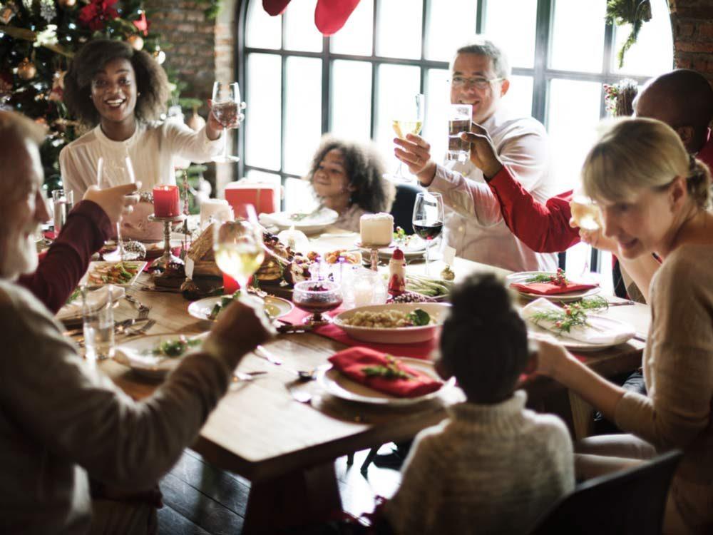Family having Christmas lunch