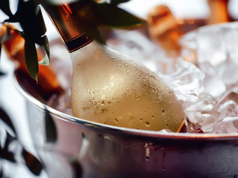 White wine bottle in ice
