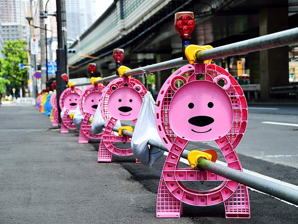Pink construction barriers in Japan