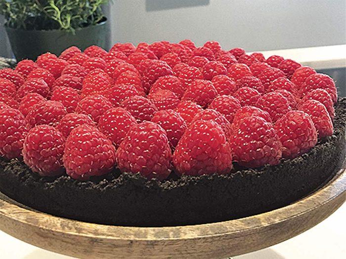 Decadent chocolate and raspberry tart